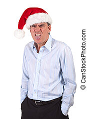 Grumpy Man Santa Hat Tongue - Grumpy Frowning Business Man...