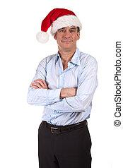 Smiling Man in Santa Christmas Hat