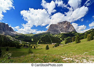 High Gardena Valley - summer landscape of high Gardena...