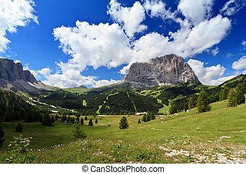 High Gardena Valley - summer landscape of high Gardena...