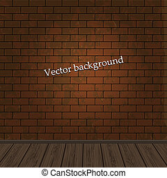 brick wall with wooden floor for your design. Vector...