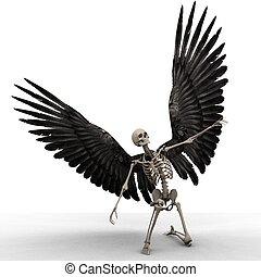 discover - a skeleton in his scary pose for halloween