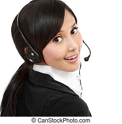 Business woman with headset - isolated over a white...