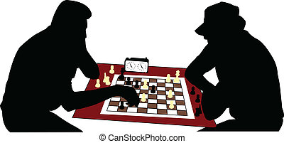 chess players silhouette - vector