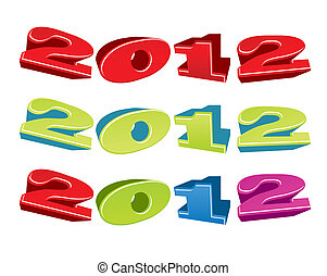 Vector illustration of 2012 year