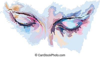 beau, bleu, yeux, girl