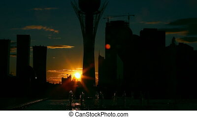 City sunset - Evening city landscape Astana, Kazakhstan