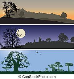 Landscape banners. Vector illustration for you design