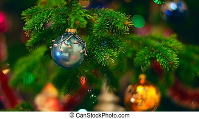 Christmas background. - Christmas decorations on the fir,...