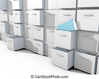 file cabinet 3d on white floor