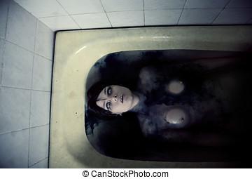 assustador, pelado, menina, banho