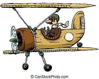 Cartoon Biplane - A cartoon biplane.