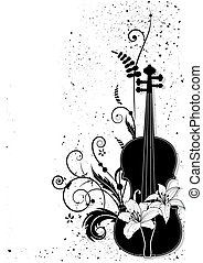 vector, floral, musical, composición