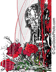 Vector floral musical composition with violin in red, black...