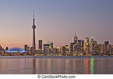 The landmark Toronto downtown view from the center island....