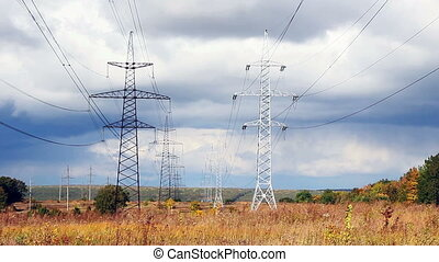 Electricity pylon - High voltage power pylons view.
