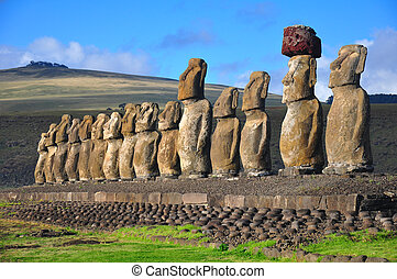 Fifteen moai at Tongariki, Easter Island - Group of 15...