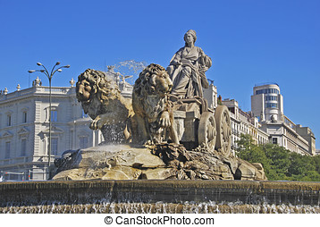 Cybele fountain. Plaza de Cibeles, Madrid. Spain