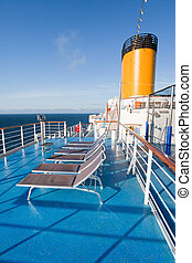 sunbath chairs on cruise liner - sunbath chairs on upper...