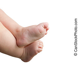 newborn baby feet isolated on white