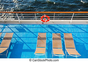 sunbath chairs on cruise liner - sunbath chairs on side of...