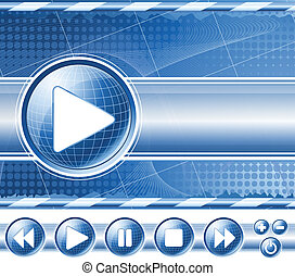 Background with multimedia player controls (buttons). Vector...