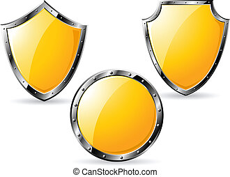 Set of yellow steel shields isolated on white background