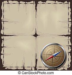 Old map with Steel Compass - Steel detailed compass over old...