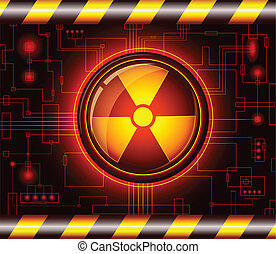 Danger button with the sign of radiation - Glossy button...