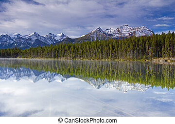 reflection in Herbert Lake - early morning reflections of...