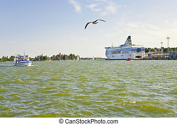 urban quay in Helsinki - sea ferry in South harbour,...