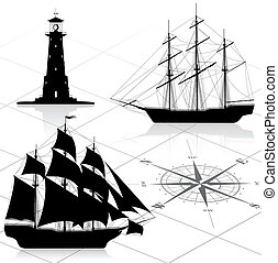 Set of nautical design elements. All images could be easy...