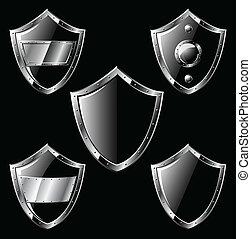 Set of five black steel shields