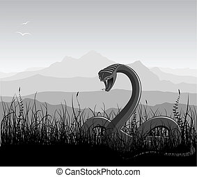 Landscape with angry snake, grass and mountains...