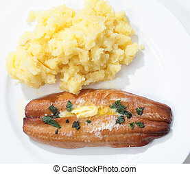 Grilled kipper and potato from above