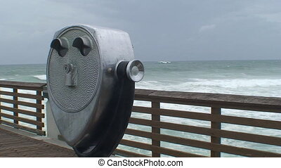 Ocean Binoculars - Ocean Viewer on the boardwalk before a...