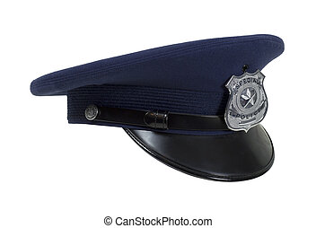 Police Cap in Profile - Dark Police cap with badge and a...