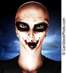 Alien Psycho Clown - A mix of an alien and psychotic clown...