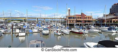 A marina panorama, Oak st bridge (Hwy-99) & River Rock casino in Richmond BC, Canada.