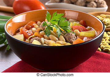 Canary bean soup with meatballs and other vegetables...