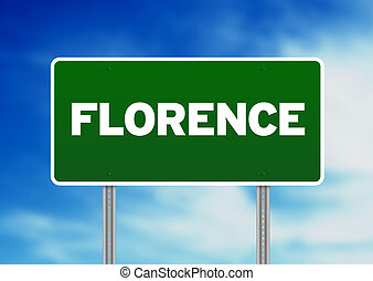 Green Road Sign - Florence, Italy - Green Florence, Italy...