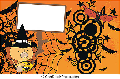 lion baby cartoon halloween backgroundin vector format