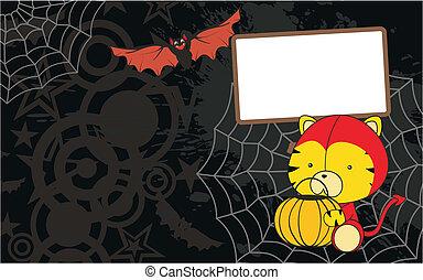 tiger baby cartoon halloween background in vector format