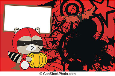 raccoon baby cartoon halloween background in vector format