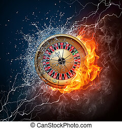 Casino Roulette in Water and Fire on Black Background.