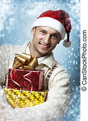 man with two christmas gift boxes