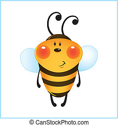 Funny bee in frame Cartoon illustration