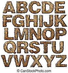 de madera, alfabeto