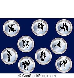 ice skating - Collection of couples ice skating - vector