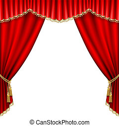Theater stage with red curtain Isolated on white